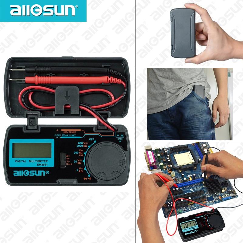 Купить на aliexpress Все солнце EM3081 EM3082 Цифровой мультиметр 3 1/2 1999 т AC/DC Амперметр Вольтметр Ом Портативный метр Напряжение метр