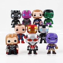 10pcs/lot 10cm Superhero iron man big heads PVC action figure model toys Thanos Captain America Thor spiderman Black Panther(China)