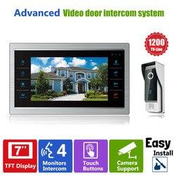 Homefong 7 TFT 1200TVL باب مراقب فيديو إنترفون باب المنزل نظام مسجل الهاتف SD/TF بطاقة دعم مقاوم للماء غطاء للمطر