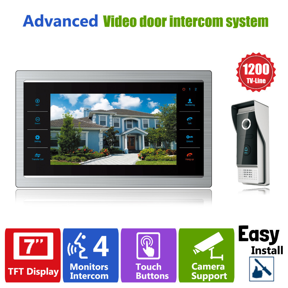 Homefong 7'' TFT 1200TVL Door Monitor Video Intercom Home Door Phone Recorder System SD/TF Card Supported Waterproof Rain Cover