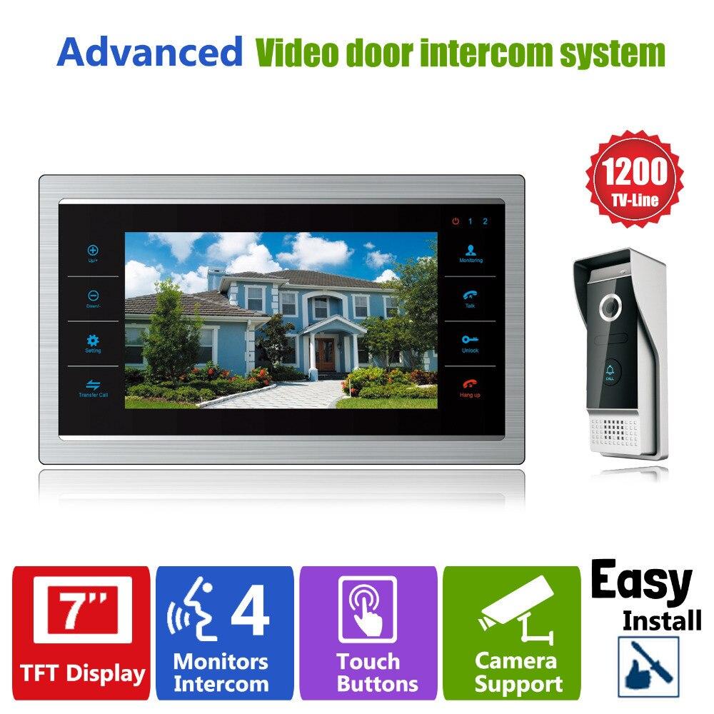 Homefong 7 TFT 1200TVL Porte Moniteur Vidéo Intercom Home Porte Téléphone Système Enregistreur SD/TF Carte Pris En Charge Étanche housse de pluie