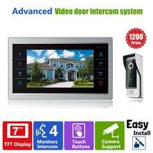 """Homefong 7 """"TFT 1200TVL 도어 모니터 비디오 인터콤 홈 도어 전화 레코더 시스템 SD/TF 카드 지원 방수 레인 커버"""