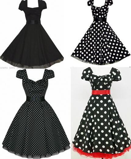 free pp 4 styles plus size dress BLACK POLKA DOT 50\'s PUFF SLEEVE ...