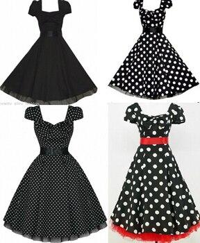 free pp 4 styles plus size dress BLACK POLKA DOT 50\'s PUFF SLEEVE ...
