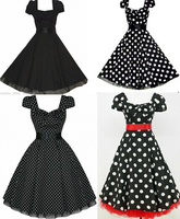 free pp 4 styles plus size dress BLACK POLKA DOT 50's PUFF SLEEVE ROCKABILLY PARTY VTG DRESS rockabilly kleid s 6xl