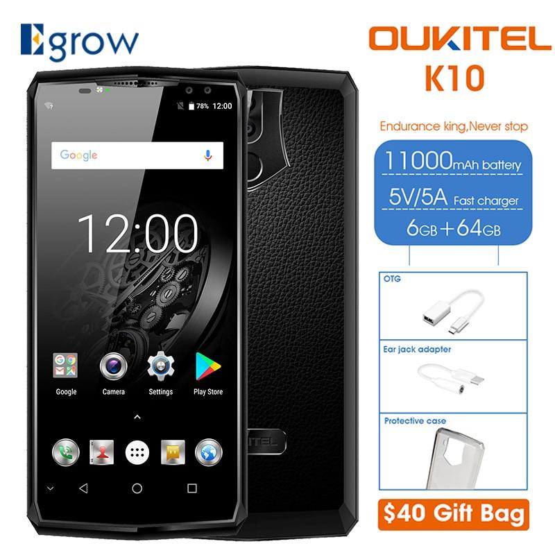 OUKITEL K10 6.0 18:9 6 gb RAM 64 gb ROM Mobile Téléphone 11000 mah Charge Rapide 4 Caméras MTK6763 face d'empreintes digitales ID NFC Smartphone