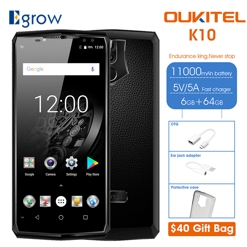 OUKITEL K10 6.0 18:9 6GB RAM 64GB ROM Mobile Phone 11000mAh Quick Charge 4 Cameras MTK6763 Fingerprint Face ID NFC Smartphone