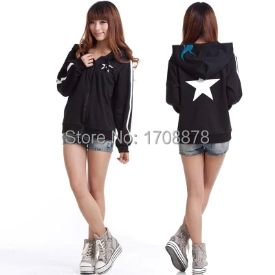 Fantasia Infantil Black Rock Shooter Cosplay Costume Black Hooded Hoodie Unisex Cardigan Jacket