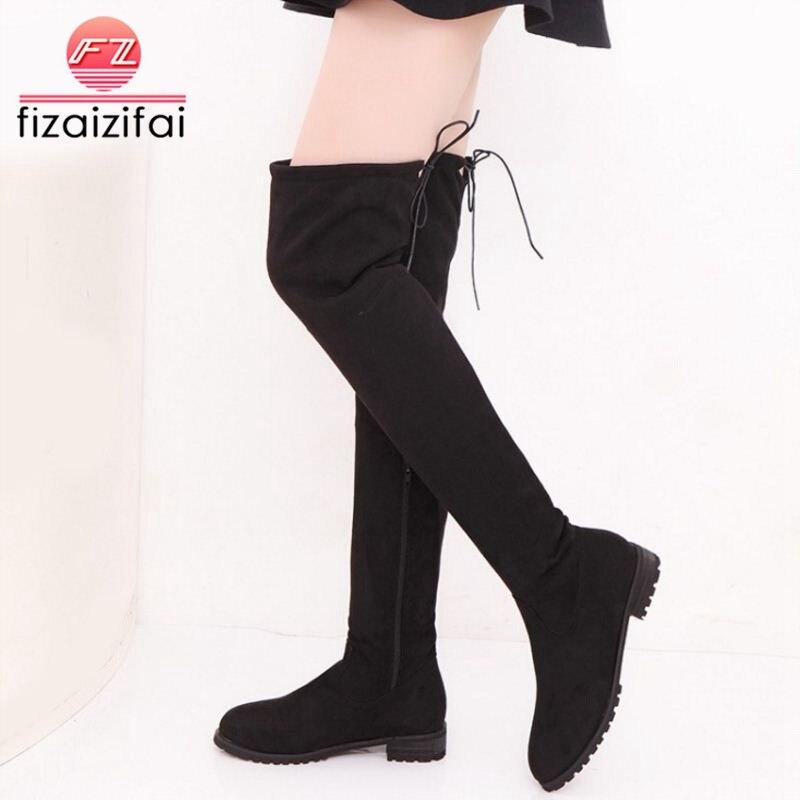 gris Lacent Plus rouge Genou De Fizaizifai Chaussures Appartements Classique Glissière Botas 34 43 Troupeau D'hiver Womem Taille Latérale Femelle Mode Bottes Noir 1xYwRvgqw