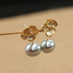 Amxiu модные серьги с натуральным серым жемчугом ручной работы позолоченные серьги-капли с цветком для вечерние подарки для пирсинг для ушей