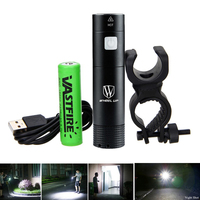Black Silver USB Rechargeable Bike Front Light XP G II Mini LED Flashlight 5 Modes Torch