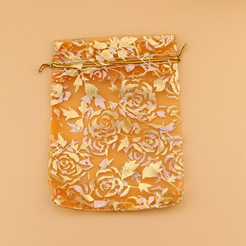 a126cd491 Nueva moda 500 unids Rosa imprimir organza caramelo del regalo del favor  del banquete de boda joyería Bolsas de tela color naranja 15x20 cm