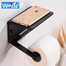 Black Toilet Paper Holder with Shelf Aluminum Bathroom Roll Paper Holder Decorative Paper Towel Holder Rack Wall Mounted