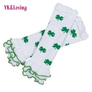 YK&Loving Retail/Wholesale Cotton baby Legging warm St.Patrick Day Green White Clover baby Tight High Quality Ruffles Socks 2Pcs