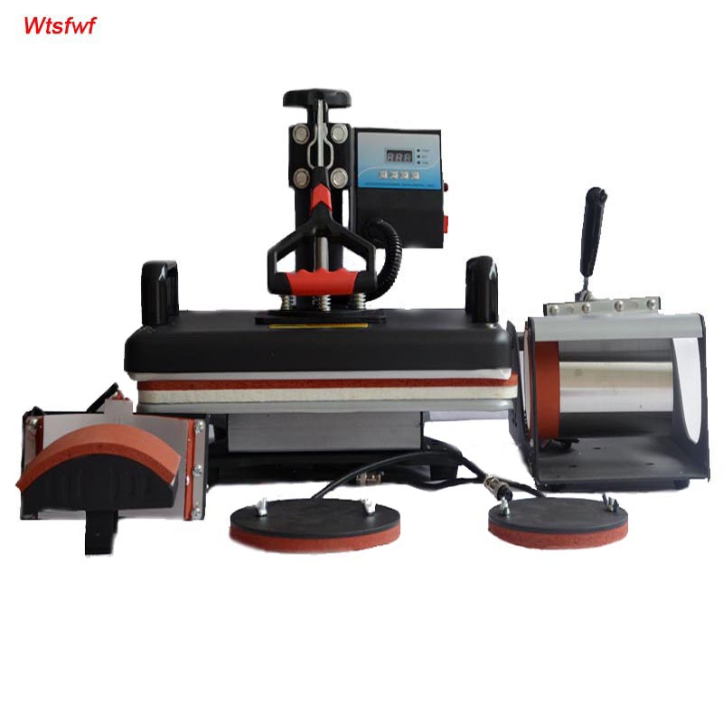 Wtsfwf 30 38CM 5 in 1 Combo Heat Press Printer Machine 2D Sublimation Vacuum Heat Press