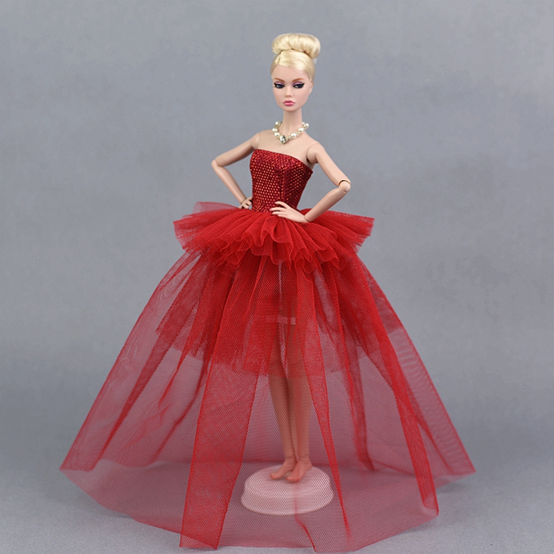 Handmade Doll Dress Clothes For  1//6 Dolls Party Sequin Tulle Gown Dress ^P