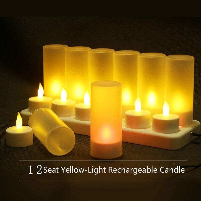 Simulation bougie lumière LED électronique décoratif bougie lumières 12 siège jaune lumière Rechargeable bougie mariage décorer la lumière