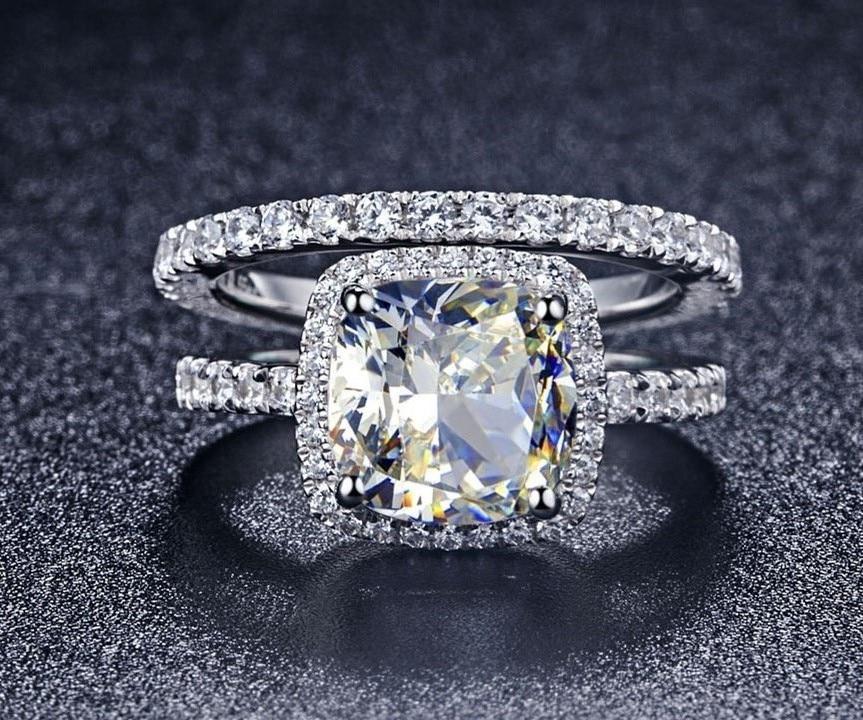 14k White Gold Sterling Silver Princess cut Diamond Engagement Ring Wedding Set