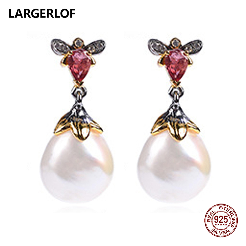 LARGERLOF 925 Sterling Silver White Baroque Pearl Earrings Tourmaline Silver 925 Jewelry Earrings With Stones ED37112