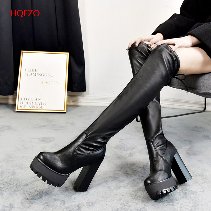 31463580c535 HQFZO Leather Platform Women Long Boots Over the Knee Boots Platform Sexy  Female Autumn Winter Thigh High Boots Botas Mujer