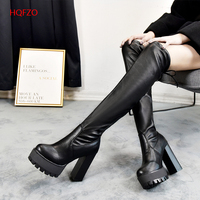 HQFZO Leather Platform Women Long Boots Over the Knee Boots Platform Sexy Female Autumn Winter Thigh High Boots Botas Mujer