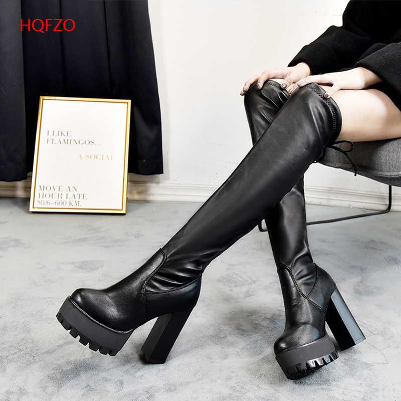 Hqfzo plataforma de couro mulher botas longas sobre o joelho plataforma sexy feminino outono inverno coxa botas altas botas mujer