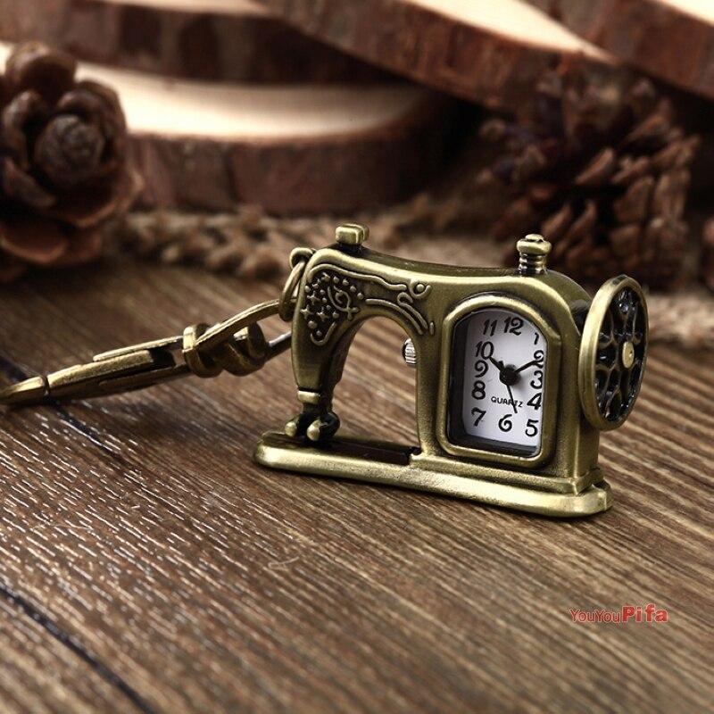 Antique Sewing Machine Retro Bronze Keychain Pocket Watch Clock Men Women Children's Quartz Watches Popular Gifts With Box