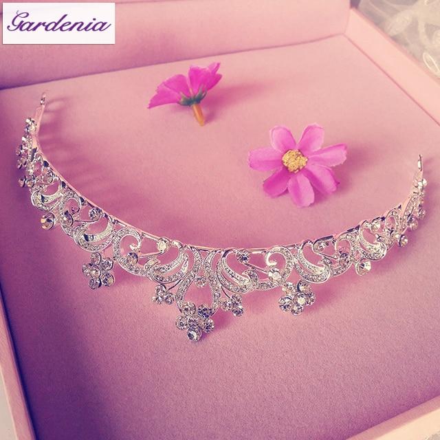 Sparkling Silver Rhinestone  Beaded Bridal Hair Jewelry Princess Acessories Para Cabelo Wedding Tiaras for Brides(SS-006)