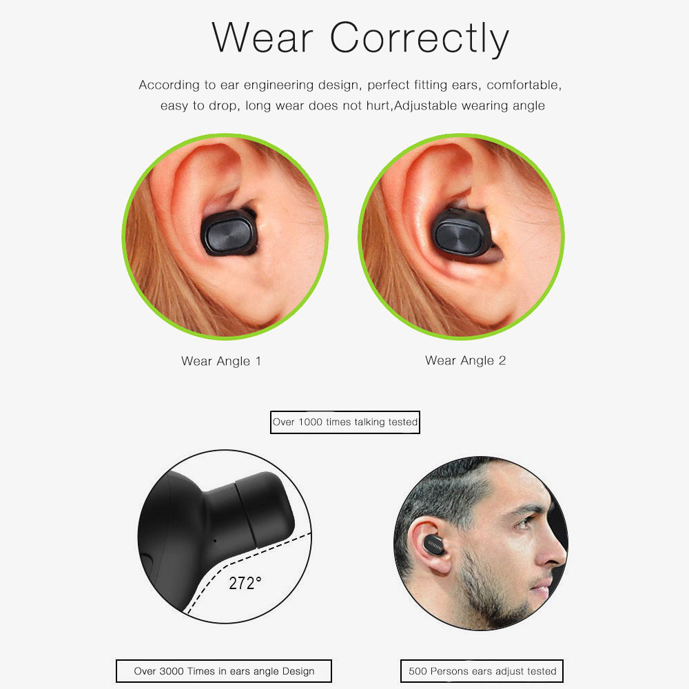 JQAIQ Ultra Mini Wireless Bluetooth Earphone Stereo Earbud Smallest Sports Invisible Car In ear Earbuds With Mic For Smartphones in Bluetooth Earphones Headphones from Consumer Electronics
