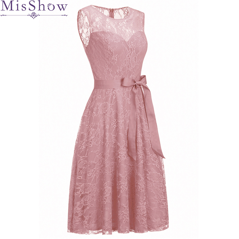 Pink Vintage Lace Cocktail Dresses Short Scoop Neck Sleeveless Little Party Gown Women`s Knee-Length Vestidos Coctel Mujer 2019