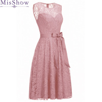 Pink Vintage Lace Cocktail Dresses Short Scoop Neck Sleeveless Little Party Gown Women`s Knee Length vestidos coctel mujer 2019
