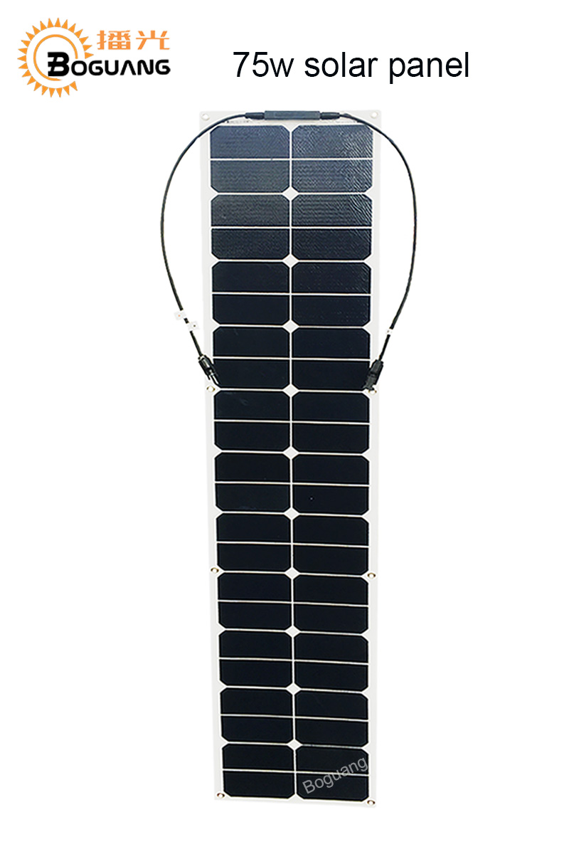 BOGUANG 75w semi flexible solar panel ETFE solar module efficient cell MC4 connector for 12v battery RV car yacht power charge 100w folding solar panel solar battery charger for car boat caravan golf cart