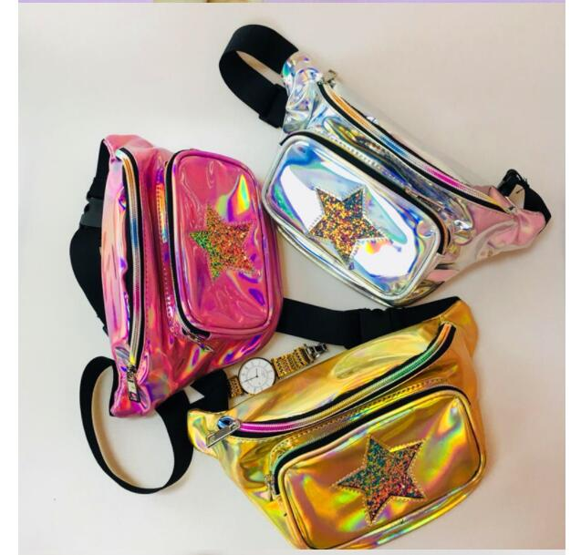 DHL 10 Pieces Holographic Funny Pack Laser Bum Bag Women's Belt Waist Bag Hologram Purse Fashion Waist Pack