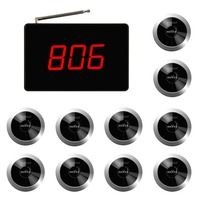 SINGCALL Wireless Restaurant Service Call System  One-button Pager Service Cancel  Pack of 10 Pagers and 1 Receiver