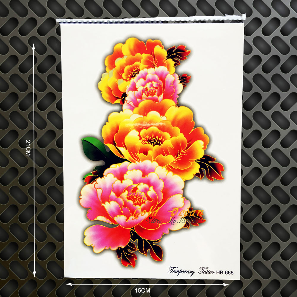Big Rose Flower Temporary Tattoo Henna Paste Removable Tattoo Large