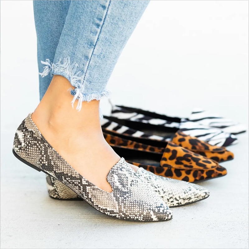 2019 Spring Autumn New Casual Fashion Ladies Flats Women Shoes Elegant Low Heels Girls Leopard Shoes Female Size 35-43