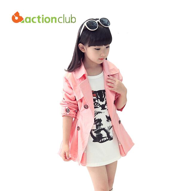 2016 Moda Nuevo Llega Pink Trench Coat Para Las Muchachas Del Niño Elegante Prendas de abrigo de Alta Quility KU801