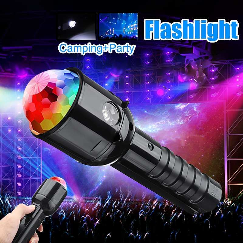Smuxi Portable Colorful Crystal RGB LED  Light + Flashlight Torch Light Dual Use 2 In 1 3W LED  Lamp DC5V