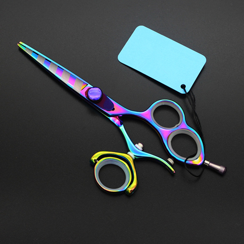 Upscale Professional Japan 440c 5.5 Inch Rainbow Fly Rotate Cut Hair Scissors Cutting Barber Makas Shears Hairdressing Scissors