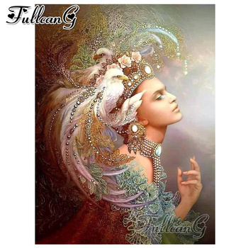 FULLCANG diy 5d mosaic full embroidery fantasy woman and eagle animal diamond painting mazayka square/round drill picture FC1640