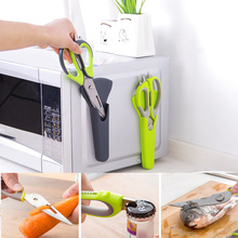 6 In 1 Kitchen Scissors Magnetic Knife Seat Removable Stainless Steel Open Walnut Scrap Fish Scale Accessories