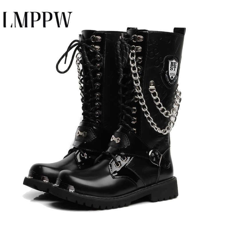 אופנה Mens אופנוע מגפי תחרה עד Mens נעליים גבוהה צבאי נעליים צבאיות עור מפוצל החורף גבוהה למעלה גברים נעליים בתוספת גודל 2.5