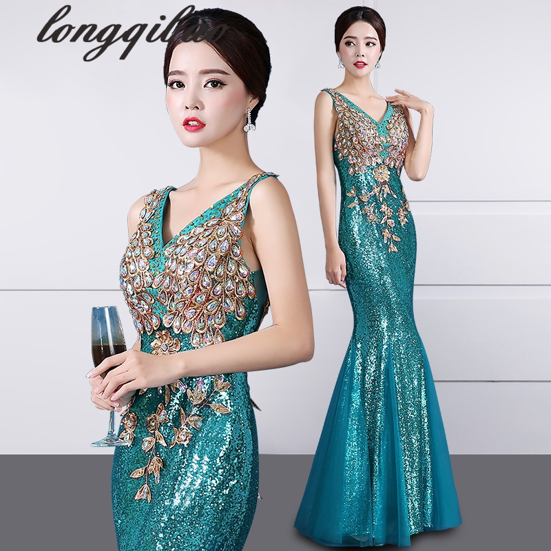 The new section of the host long section beads sequined Slim fish tail dress (5-color optional)
