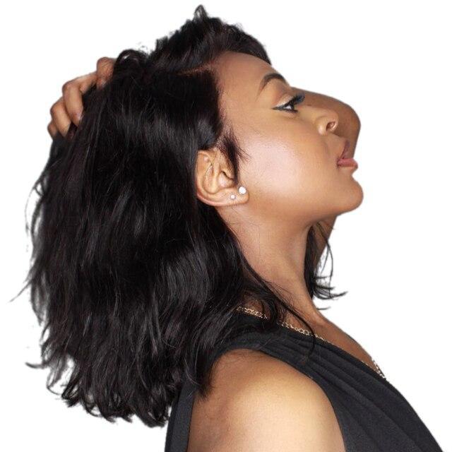 Луффи 13x6 короткий Боб Синтетические волосы на кружеве парики натуральные волосы естественные волны индийского non-реми натуральный черный Pre сорвал отбеленные узлы для Для женщин