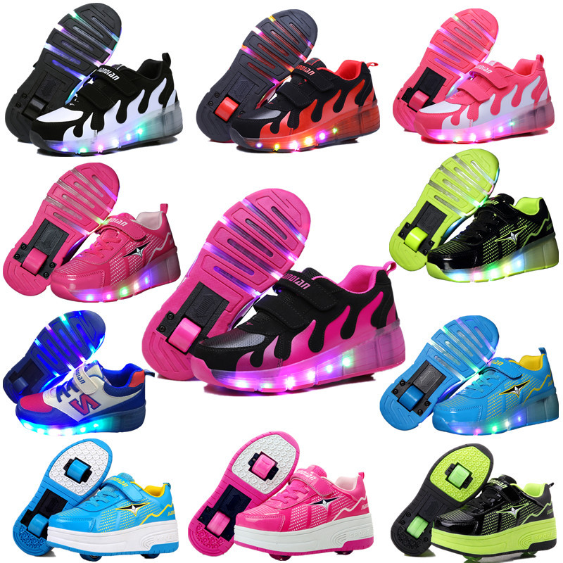 New Children Roller Shoes Boy & Girl Automatic LED Lighted Flashing Roller Skates Kids Fashion black Sneakers With Wheel children roller sneaker with one wheel led lighted flashing roller skates kids boy girl shoes zapatillas con ruedas