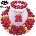 2017 Moda de boda nigeriano beads africanos joyería Conjunto rojo de plástico cuentas de collar pendientes pulsera joyería conjunto GG-426