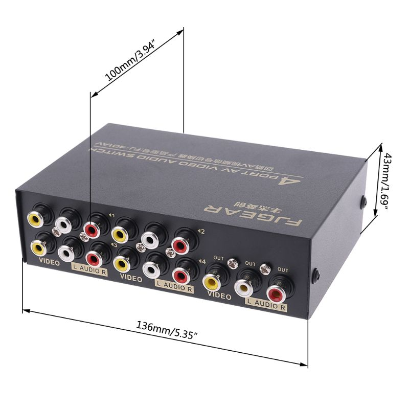 4 Port AV Audio Video RCA 4 Input 1 Output Switcher Switch Selector Splitter Box Jy17 19 Dropship