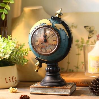 2018 Hot Sale Electronic Desk Clock Desktop Sitting Room Globe Pendulum Antique Style Needle 3″ Geometric Stopwatch Resin