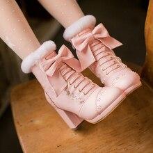 Милые ботинки с милым бантом; сезон осень-зима; Водонепроницаемая Обувь Лолиты на платформе; бархатные зимние ботинки