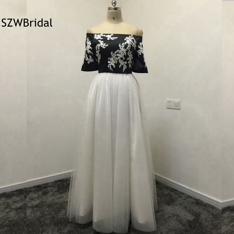 Fashion Customized Black White Two Piece Prom Dresses 2019 Short